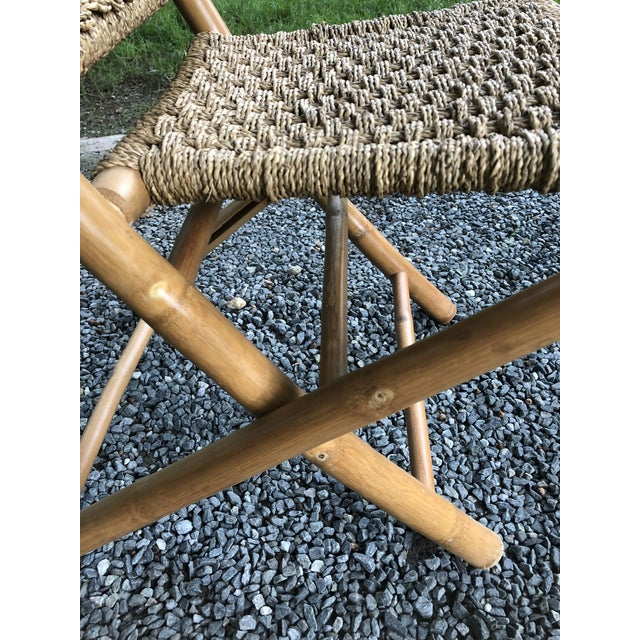 Mid-Century Modern Hans Wagner Style Bamboo Rope Folding Lounge Chairs - a Pair For Sale - Image 11 of 13