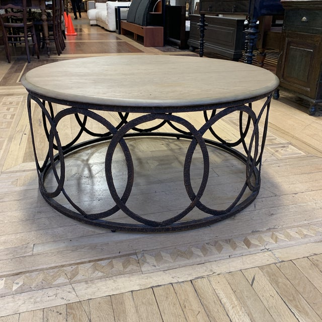 Taupe Layla Grace Round Metal Coffee Table For Sale - Image 8 of 8
