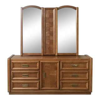 Vintage Mid Century Lowboy Dresser + Double Mirror by Stanley Furniture For Sale