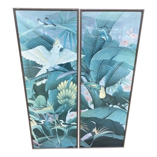 Palm Beach Regency Banana Leaves Parrot and Toucan Wall Hangings - a Pair For Sale
