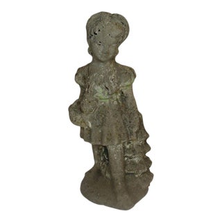 Vintage Girl Garden Statue For Sale