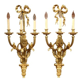 French Louis XVI Gilt Bronze Three-Light Wall Sconces - A Pair For Sale