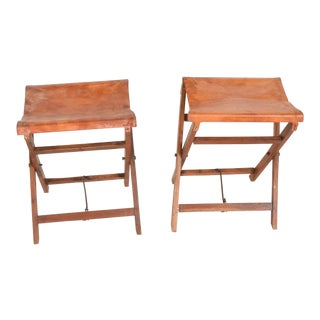 Antique Decorative Leather & Mahogany Folding Wood Stools - a Pair For Sale