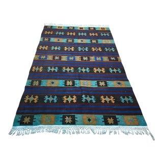 1960s Vintage Turkish Vintage Handmade Kilim Rug - 4′5″ × 7′4″ For Sale