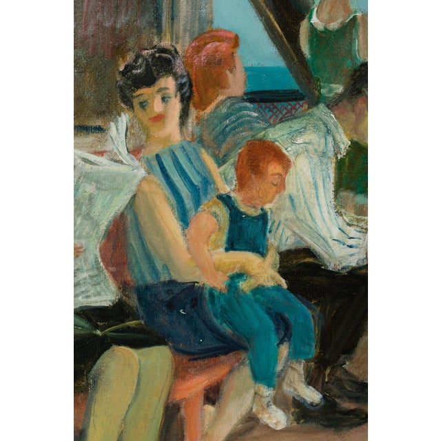 """Mid 20th Century """"Riders on the Staten Island Ferry"""" Oil Painting By Cecil Crosley Bell For Sale In Miami - Image 6 of 11"""