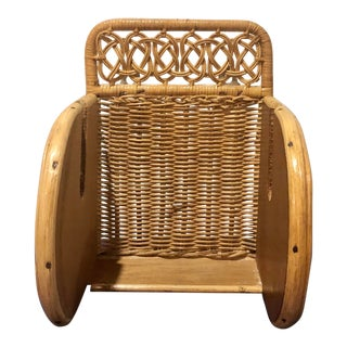 Vintage Boho Chic Rattan Bentwood Bathroom Toilet Paper Holder For Sale