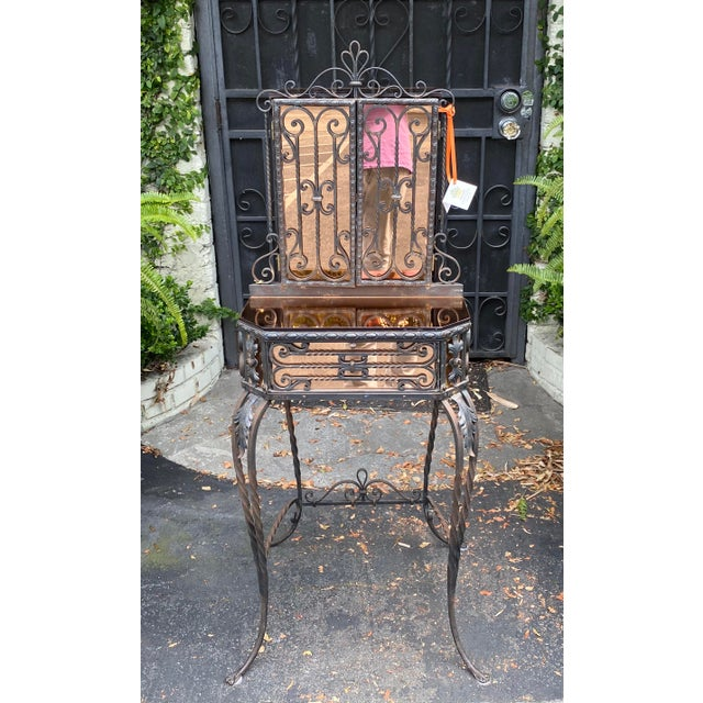 Black Antique Art Deco Spanish Wrought Iron Champagne Mirrored Vanity & Chair - a Pair For Sale - Image 8 of 11