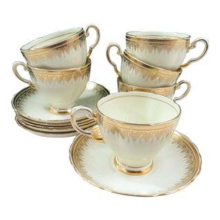 Vintage Plant Tuscan China Tea Cups & Saucers - Set of 6