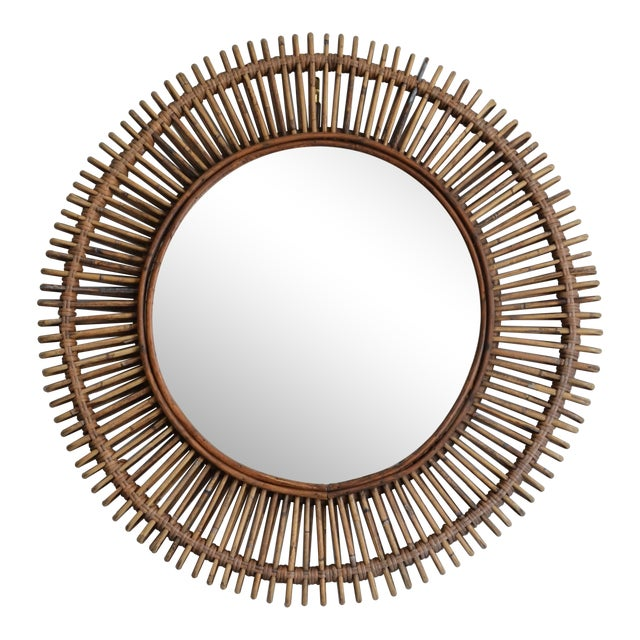 Oculus' Round Rattan Mirror by Design Frères For Sale