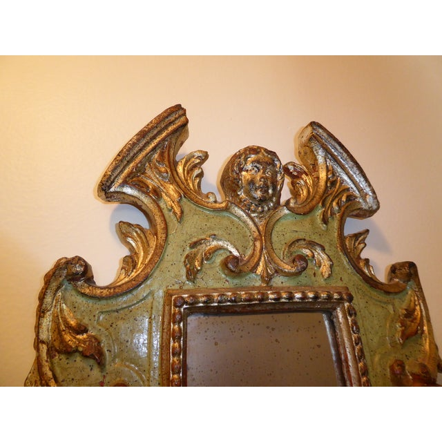 Green Vintage Rococo Green & Gold Gilt Carved Wood Mirror For Sale - Image 8 of 11