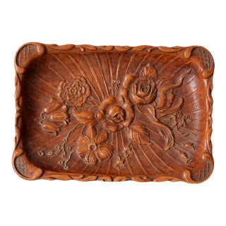 Vintage Syroco Style Floral Composite Wood Tray For Sale