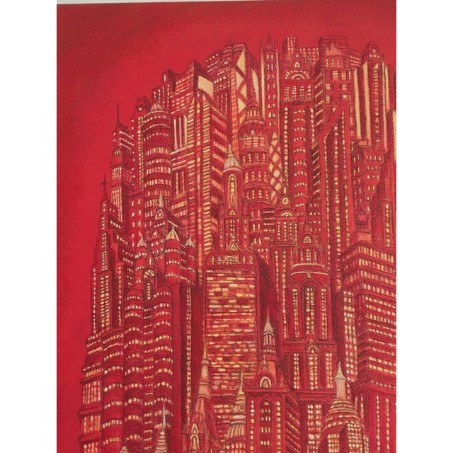 """Alexis Duque Alexis Duque """"Red Tower"""" NYC Buildings Reimagined Metropolis Acrylic Painting For Sale - Image 4 of 6"""