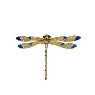 18k Gold Plique a Jour Enamel Dragonfly Pin / Pendant For Sale