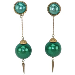 C.1970 Teal Green Orb & Dagger Dangle Gold Tone Earrings For Sale