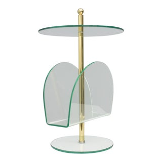 Glass, Brass and Lucite Magazine Rack Side Table, 1980s For Sale