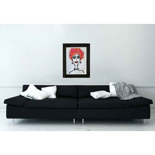 This colorful mix media fashion inspired painting is on gallery paper. Fun and colorful part of my pop art collection...