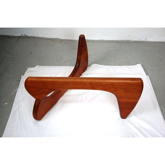 Noguchi Style Walnut & Glass Coffee Table - Image 3 of 7