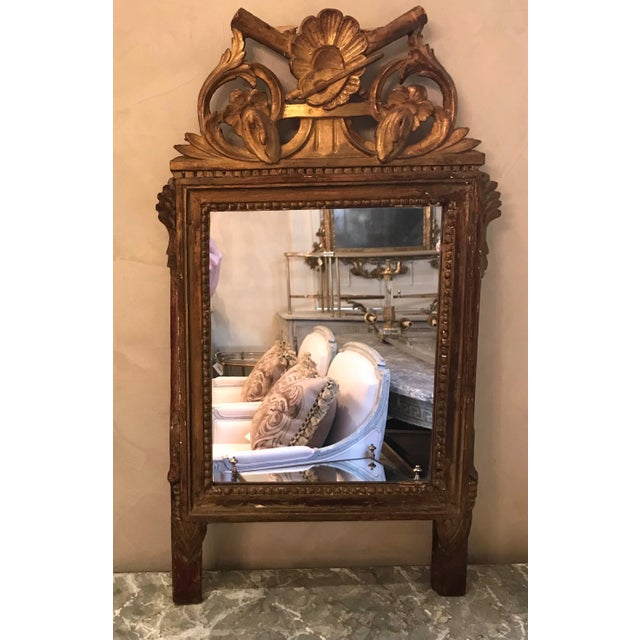 Red Petite Louis XVI Giltwood Mirror For Sale - Image 8 of 8