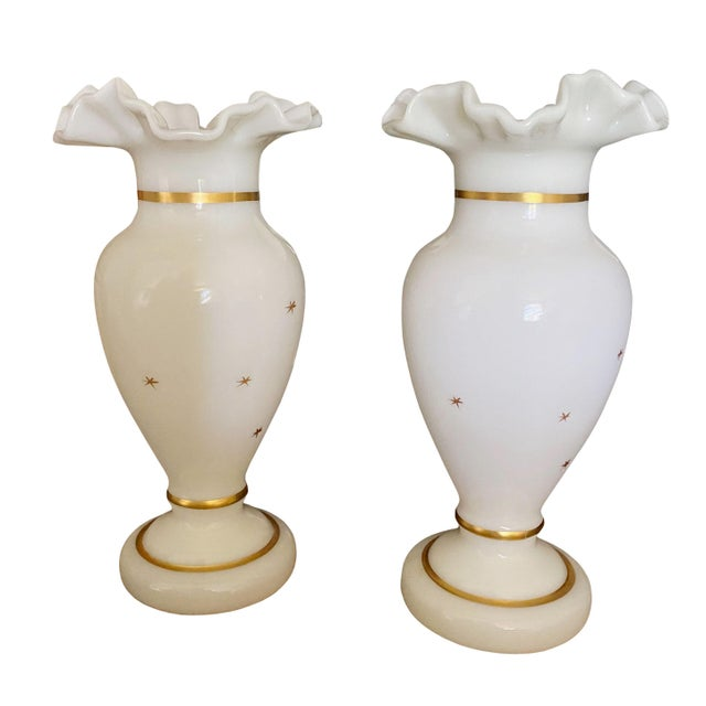 Glass Antique White and Gilt Opaline Vases - a Pair For Sale - Image 7 of 8