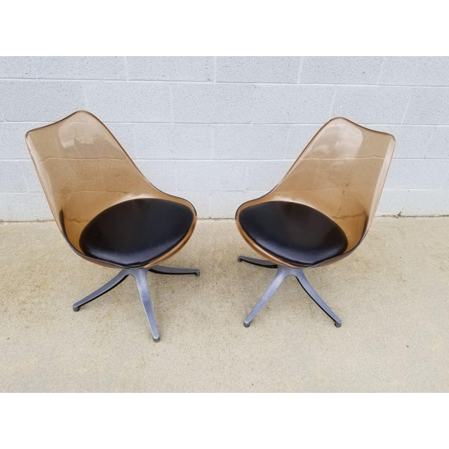 Brown Mid Century Chromcraft Brown Lucite Side Chairs- a Pair For Sale - Image 8 of 8
