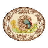 Image of 1960s Royal Staffordshire Tonquin Brown Multicolor Turkey Oval Serving Platter For Sale