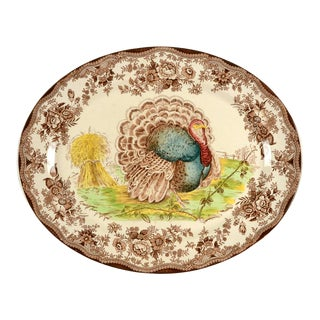 1960s Royal Staffordshire Tonquin Brown Multicolor Turkey Oval Serving Platter For Sale