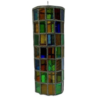 Colored Glass Hanging Chandelier For Sale
