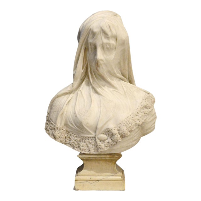 Marble Bust of a Veiled Maiden Signed by Raffaello Monti For Sale