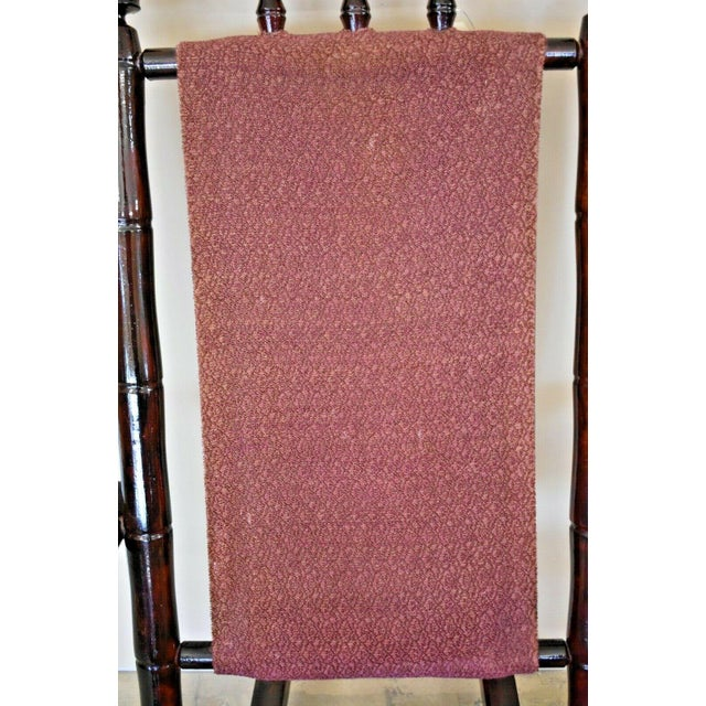 Vintage Faux Bamboo Rocking Chair With Mahogany Finish and Maroon Upholstery For Sale - Image 4 of 10