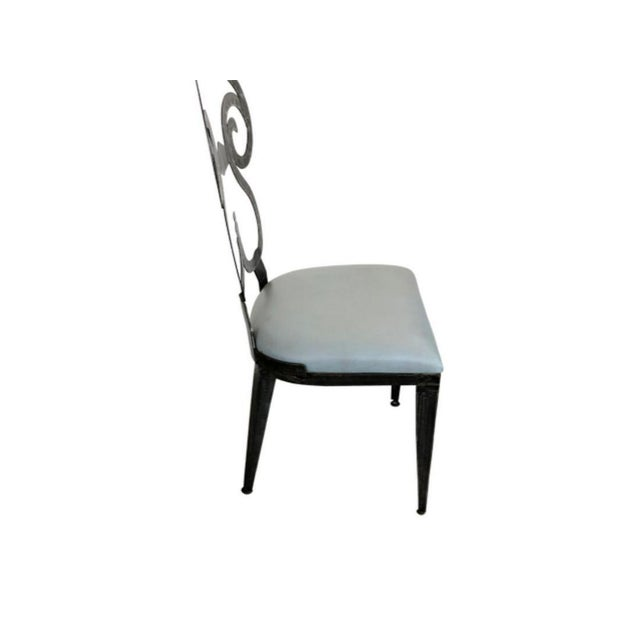 Mid-Century Modern Hammered Steel Dining Chairs - Set of 8 For Sale - Image 3 of 6