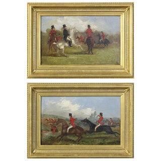 19th Century English Sporting Paintings by Richard D. Widdas - a Pair For Sale