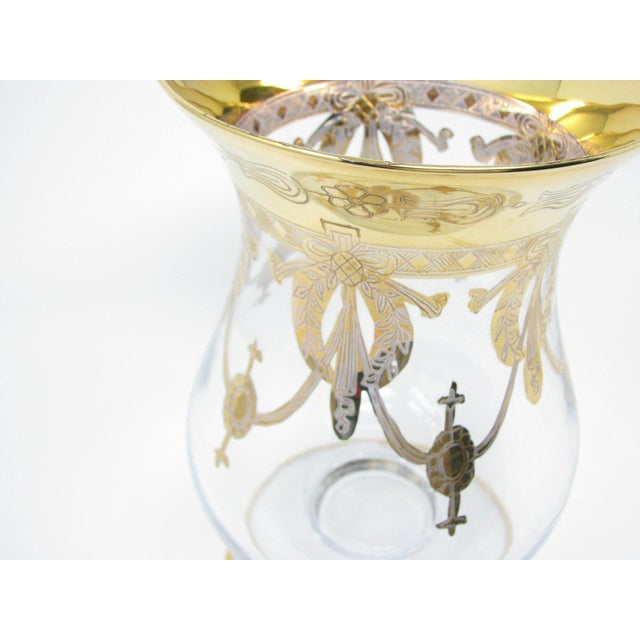 Vintage Same Cristallerie Italy Glass and 24k Gold Encrusted Large Footed Vase For Sale - Image 9 of 13