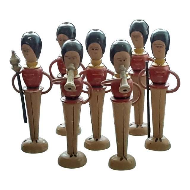 Early 20th Century Wooden Royal Guarhdsmen/ Band Members Toy Decor - Set of 8 For Sale
