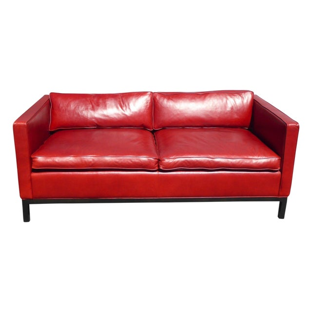 Designer Contemporary Red Leather Sofa - Image 1 of 11