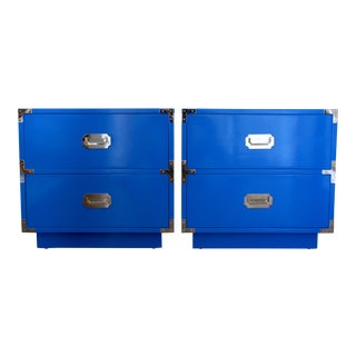 1960s Campaigner Dixie Furniture Company Blue Wood Nightstands ~ a Pair