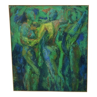 Original Vintage Large Oil Figural Abstract Painting For Sale