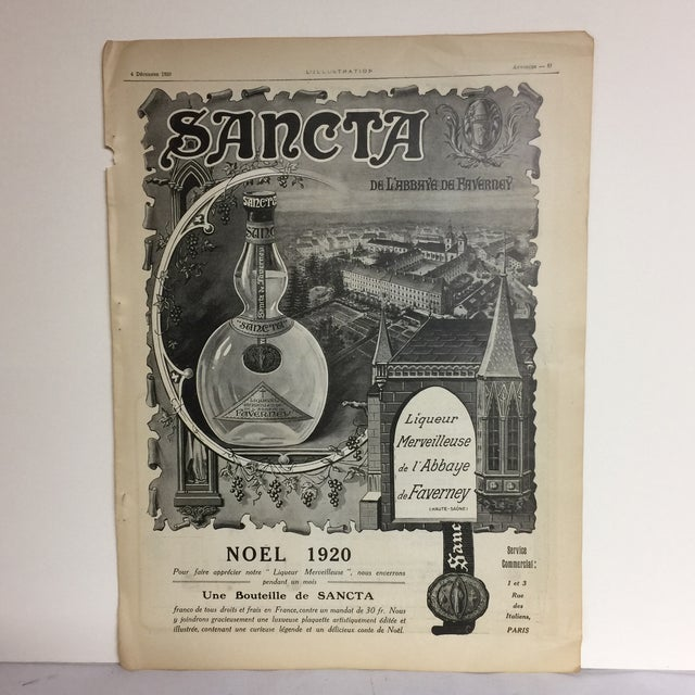 Wonderful ad for Sancta Liqueur Merveilleuse from a French publication circa 1920. Eversharp Pen ad on back. Small tears...