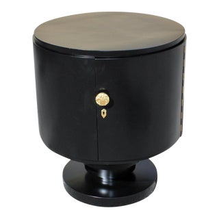 1940s French Art Deco Cylinder Ebonized Dry Bar For Sale