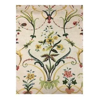 Thibaut Bella Cotton Sateen Floral Print Cream Multi-Purpose Fabric - 1 Yard For Sale