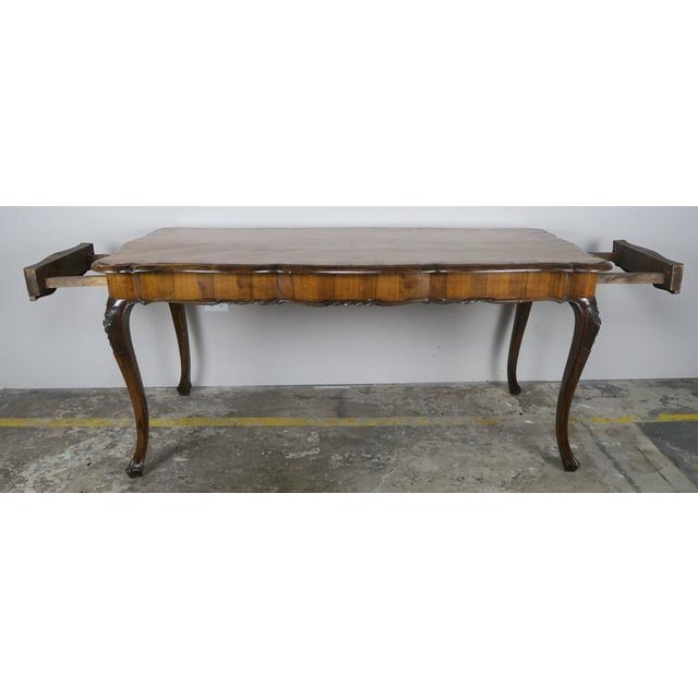 1900 - 1909 French Inlaid Walnut Veneered Writing Table, Circa 1900 For Sale - Image 5 of 11