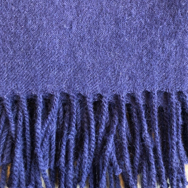 Contemporary Peruvian Alicia Adams Classic Admiral Blue Alpaca Throw For Sale - Image 3 of 5
