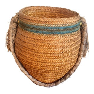 1940s Vintage Boho Braided Basket For Sale