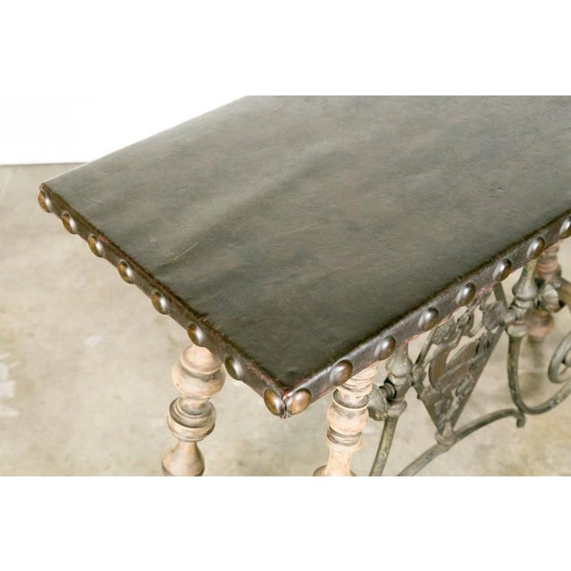 1920s 1920s Oscar Bach Art Deco Leather Top Console For Sale - Image 5 of 10