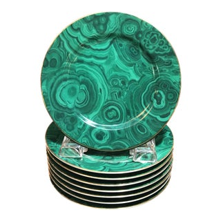 """Late 20th Century Traditional Malachite Painted Green Porcelain 6.25"""" Plates - Set of 8"""