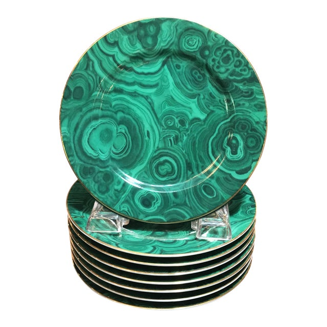 """Late 20th Century Traditional Malachite Painted Green Porcelain 6.25"""" Plates - Set of 8 - Image 1 of 7"""