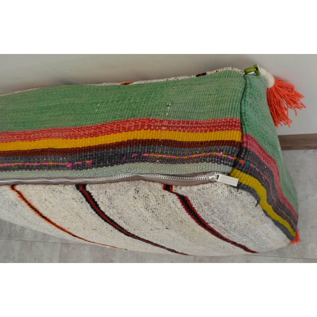 Cotton Turkish Hand Woven Floor Cushion Cover For Sale - Image 7 of 7