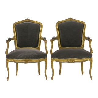 Pair of French Louis XV Style Carved Giltwood Antique Arm Chairs Circa 1900 For Sale