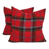 Image of Vintage Plaid Striped Pillow For Sale