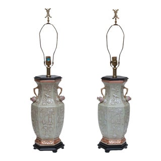 Vintage Maitland Smith Tall Chinoiserie Table Lamps - a Pair