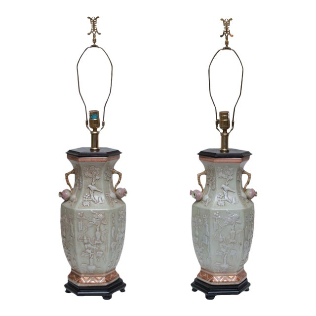 Vintage Maitland Smith Tall Chinoiserie Table Lamps A